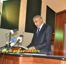 الوزير الأول ولد حدمين خلال إلقائه خطابه أمام البرلمان